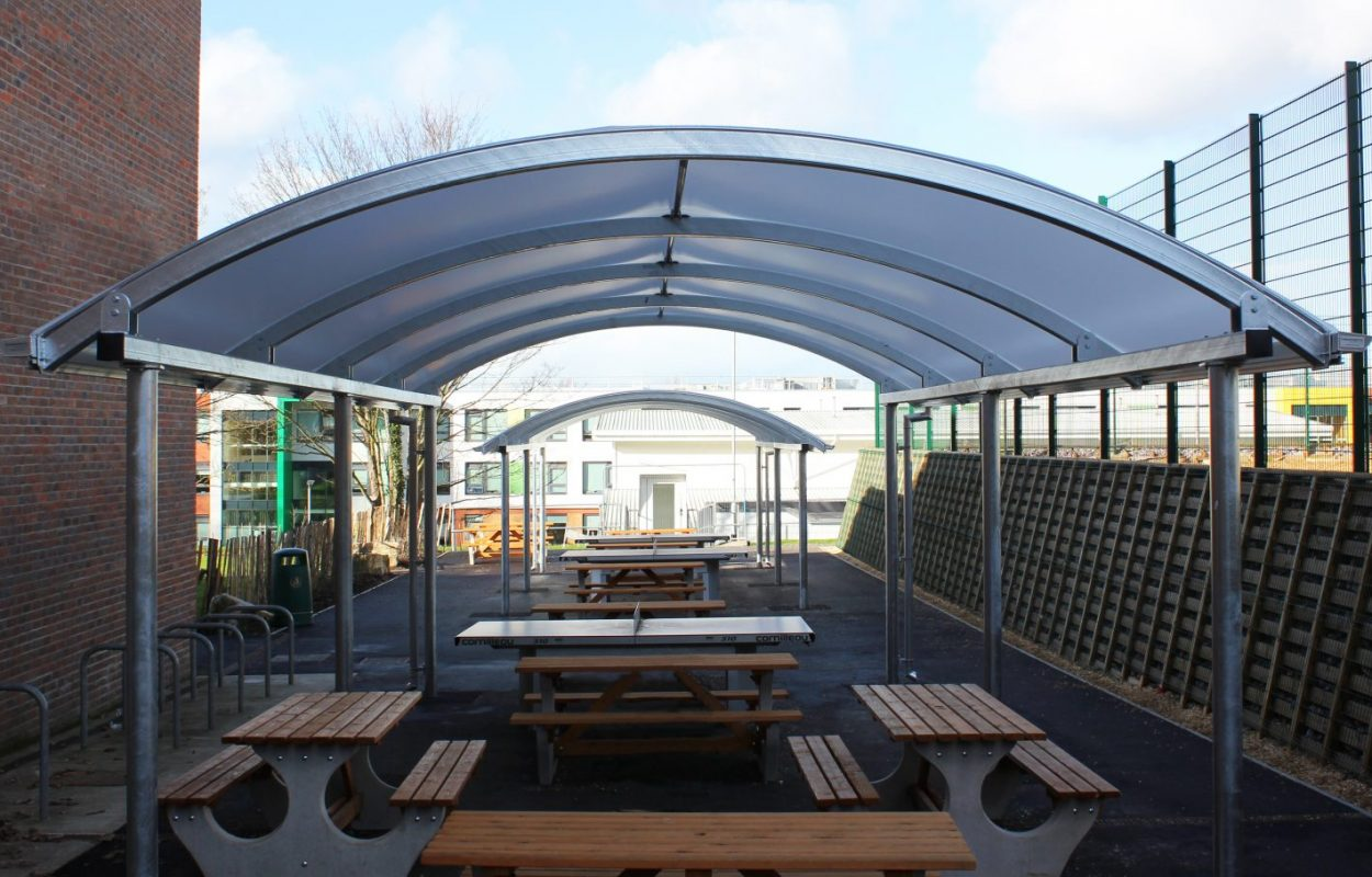 Bitterne Park School steel and fabric canopies by Fordingbridge
