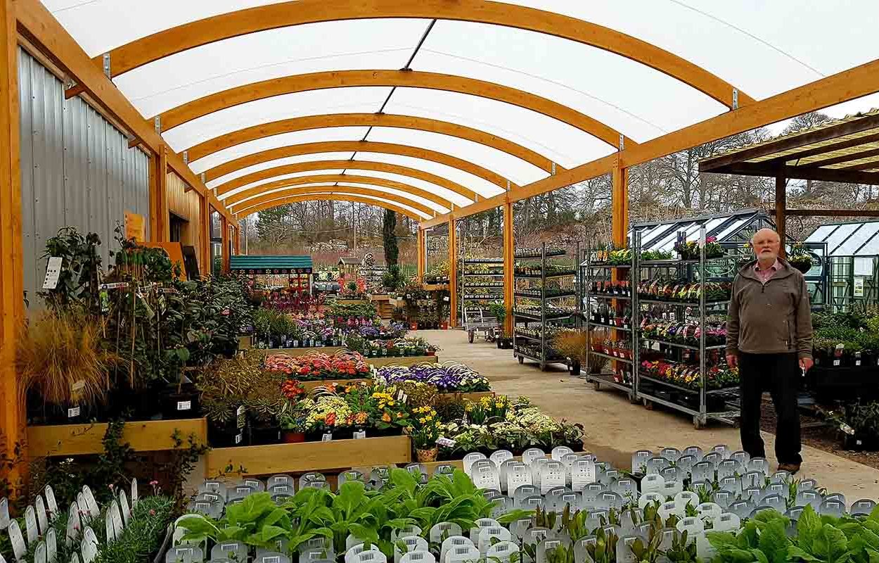 timber canopy for garden centre