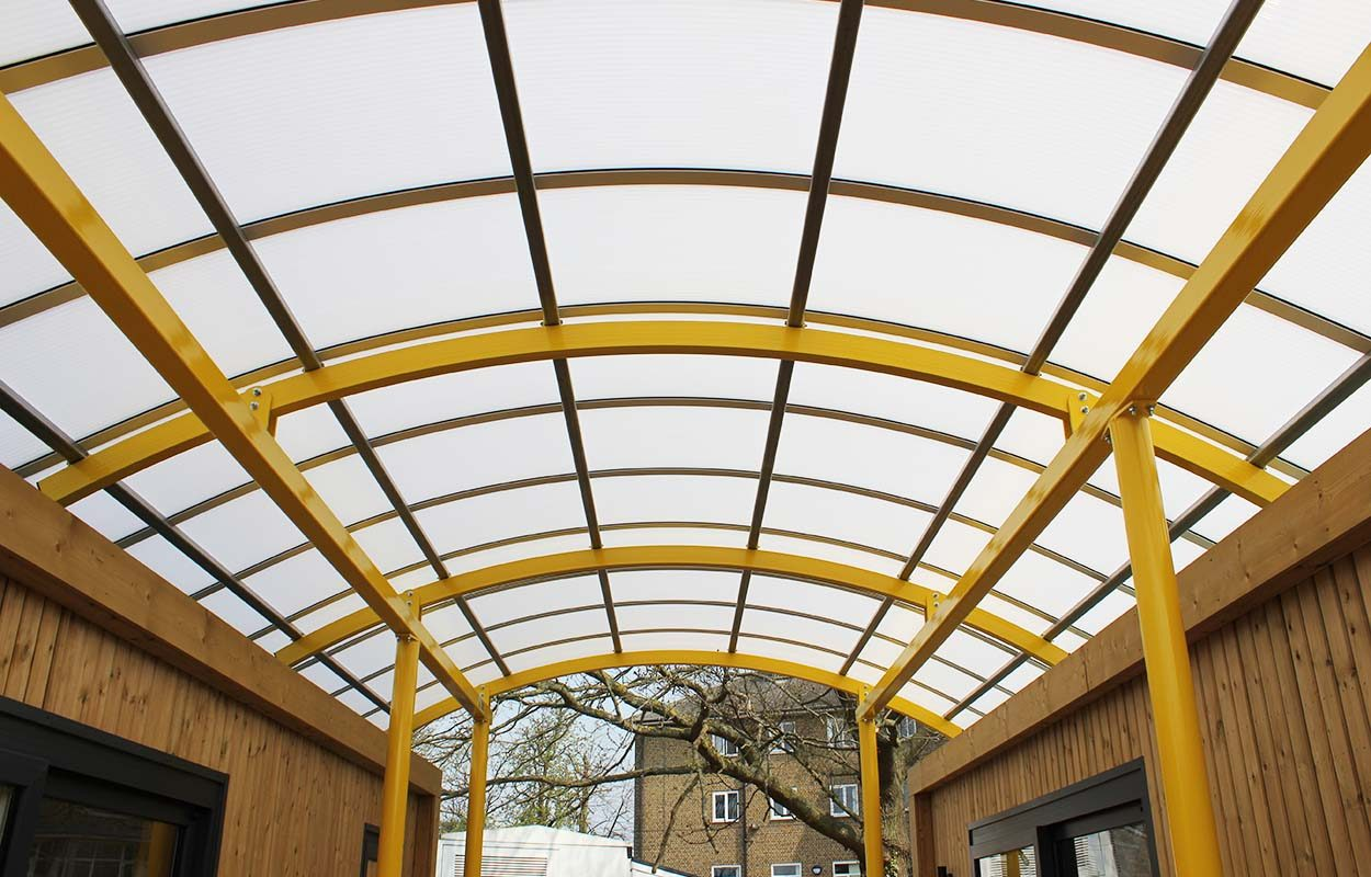 High Point House - interlinking canopy between two modular buildings by Fordingbridge Canopies 5_web