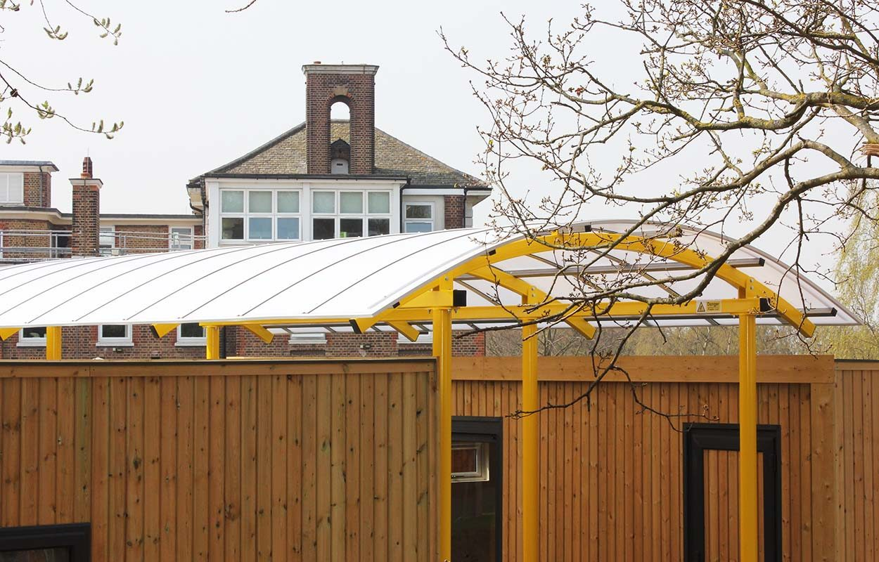 High Point House - interlinking canopy between two modular buildings by Fordingbridge Canopies 6_web