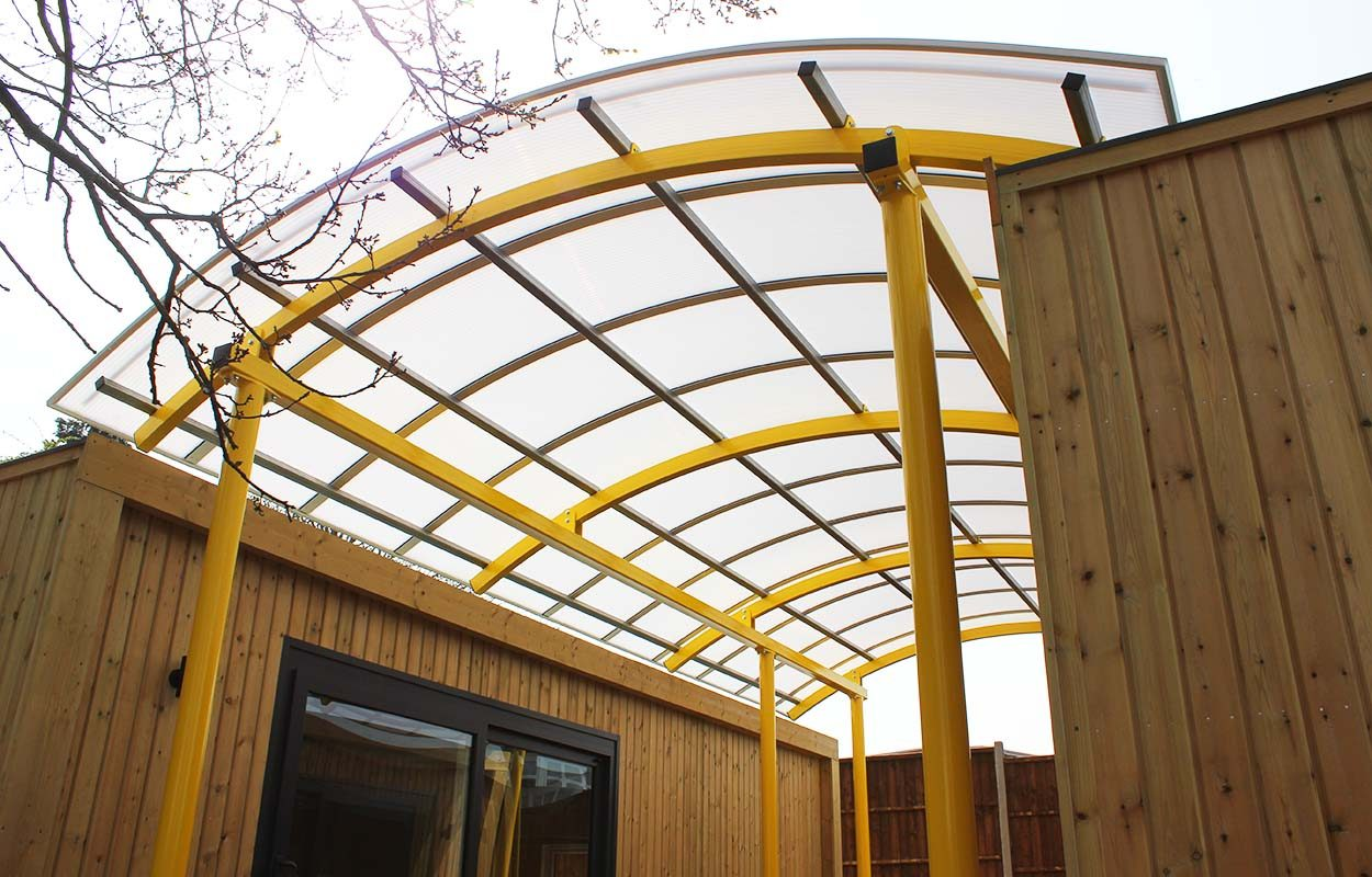 High Point House - interlinking canopy between two modular buildings by Fordingbridge Canopies_web