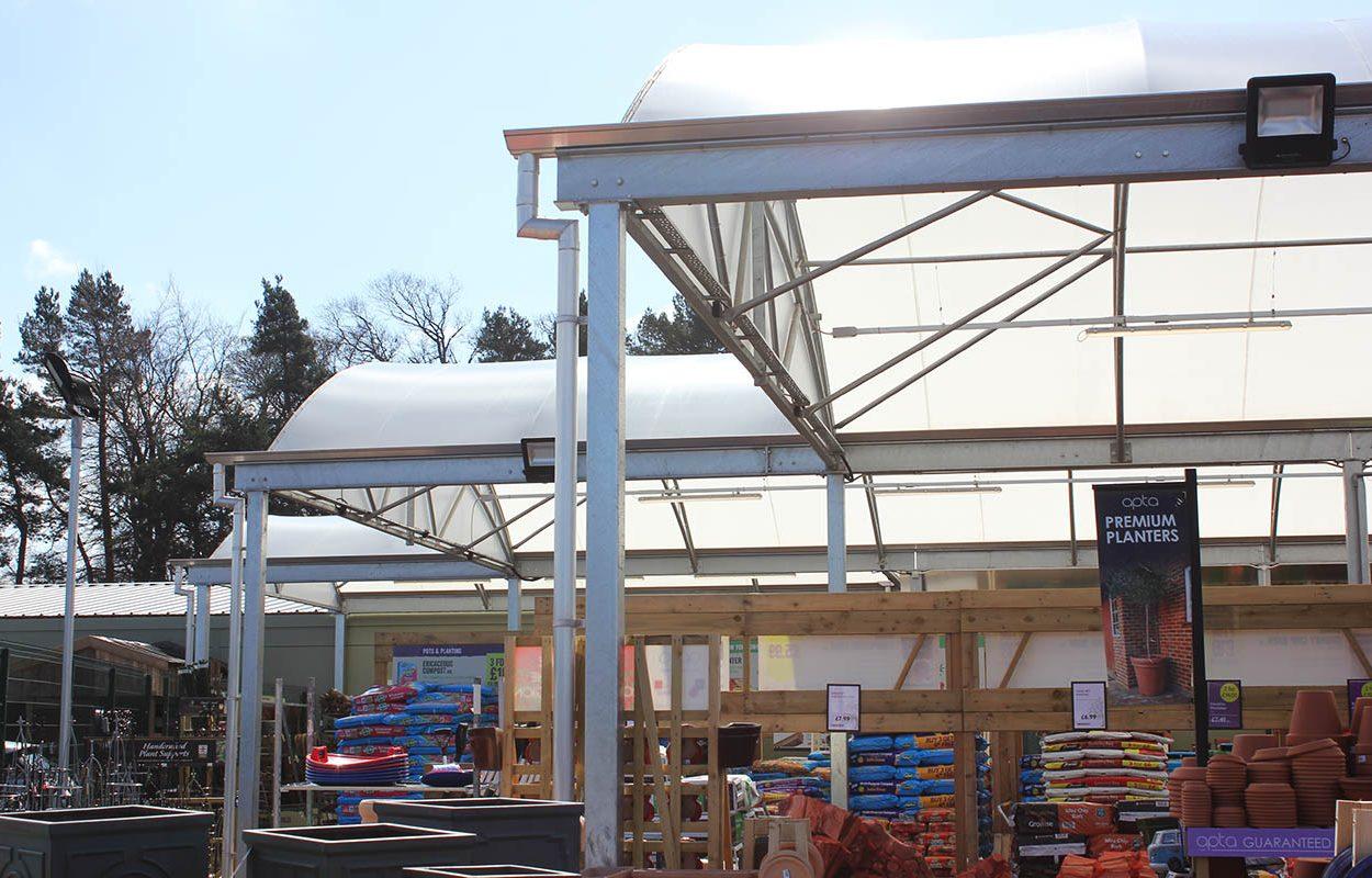 Morton Hall Klondyke Garden Centre Canopy by Fordingbridge Canopies - profile
