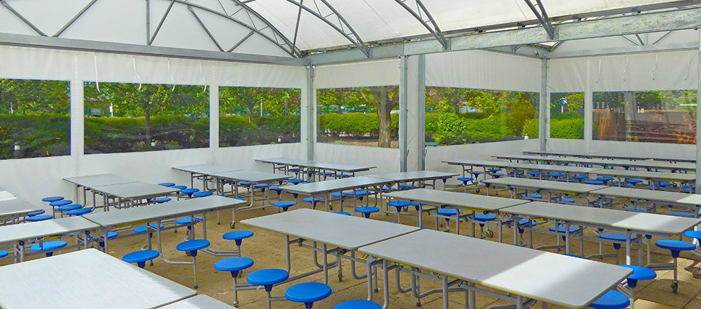 etra covered ding space in a school using a fordingbridge canopy