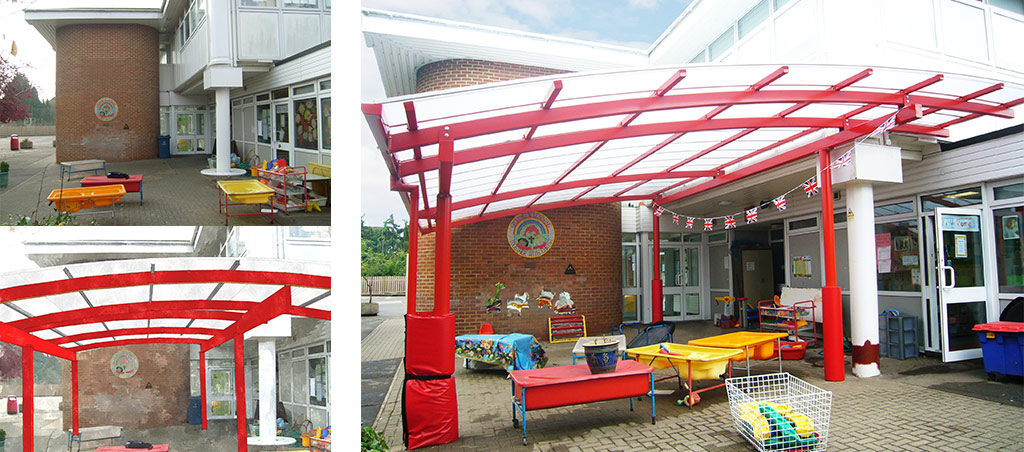photos showing how Fordingbridge can add a canopy to an area to give a visual idea